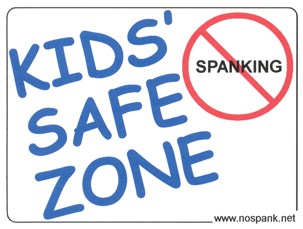 Kid Safe Zone Sticker, No Spanking Sticker from www.nospank.net used with permission.